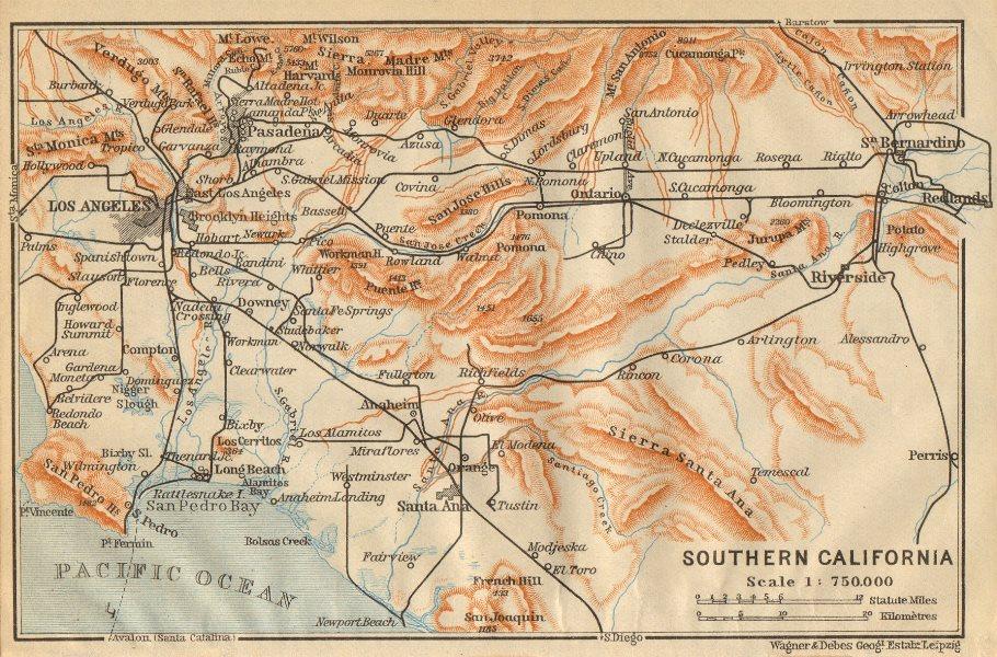 Associate Product SOUTHERN CALIFORNIA. Los Angeles Pasadena Santa Ana. BAEDEKER 1904 old map