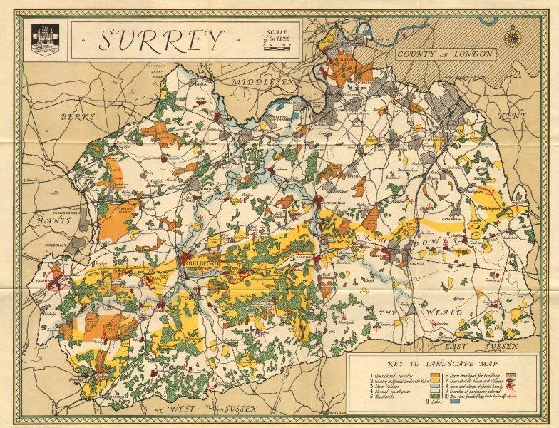 Associate Product Vintage Surrey county tourist map 1934 old vintage plan chart