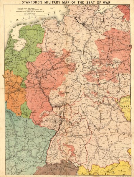 Associate Product 'Stanford's military map of the seat of war'. Franco-Prussian War. Germany 1870