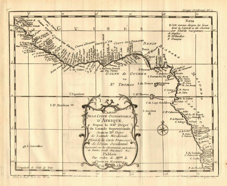 Associate Product 'Coste Occidentale d'Afrique…' West Africa. Gulf of Guinea. BELLIN 1758 map