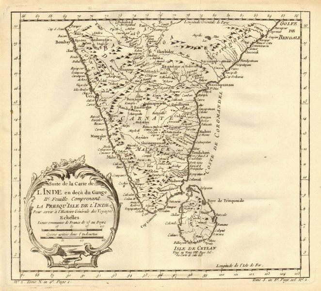 Associate Product 'Suite de l'Inde en deçà du Gange' South India Sri Lanka Ceylon. BELLIN 1758 map