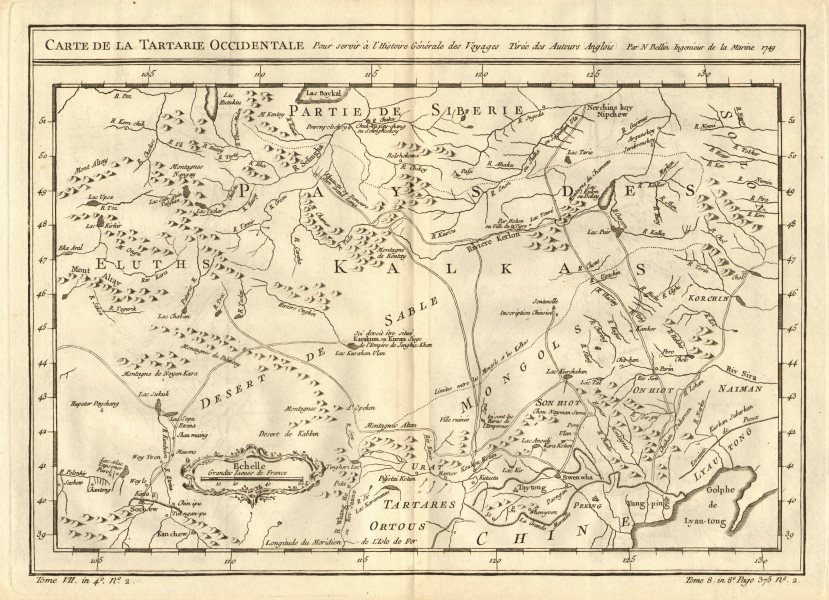 'Tartarie Occidentale'. Western Tartary. N China & Mongolia. BELLIN 1758 map