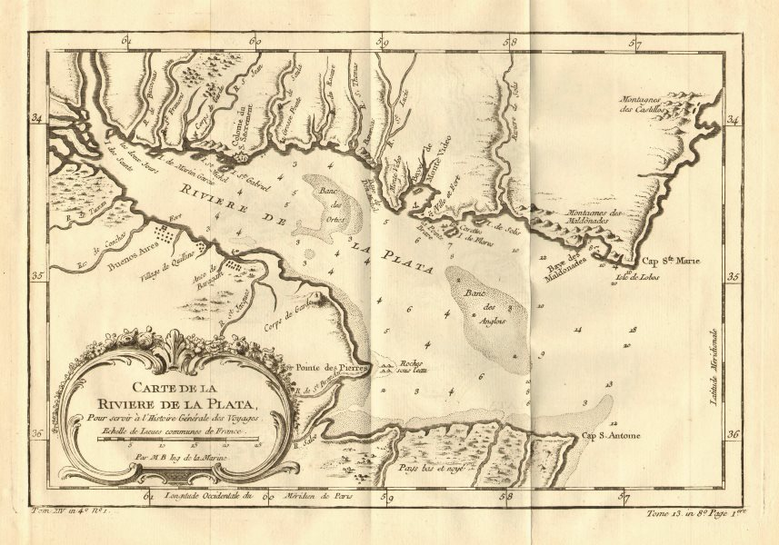 Associate Product Río or 'Riviere de la Plata'. River Plate. Argentina & Uruguay. BELLIN 1758 map
