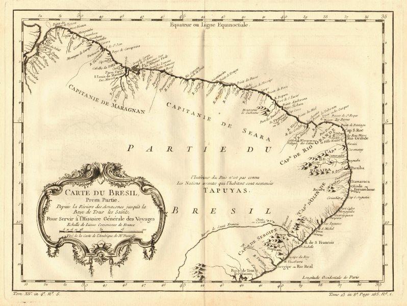 Associate Product Bresil prem partie depuis la Rivière des Amazones. North Brazil. BELLIN 1758 map