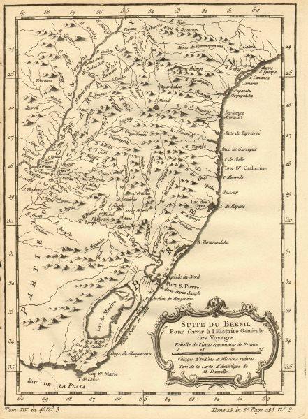 Associate Product 'Suite du Bresil'. Southern Brazil & Uruguay. BELLIN 1758 old antique map