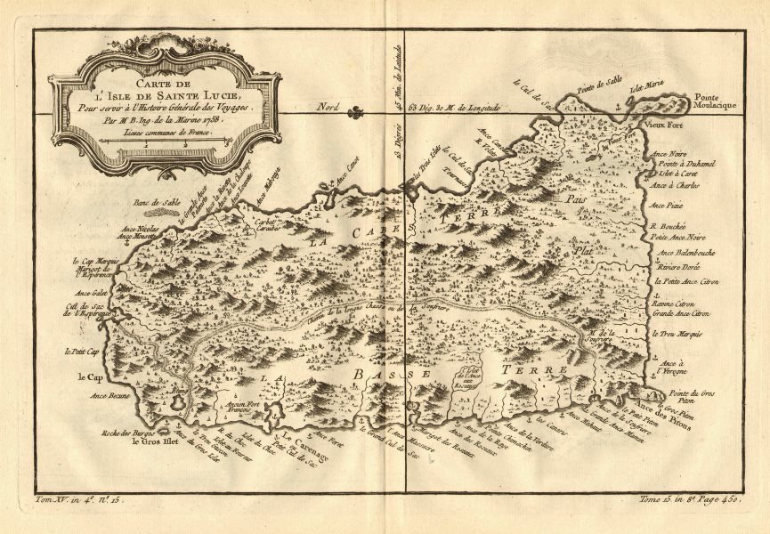 'Carte de L'Isle de Sainte Lucie'. Saint Lucia, Caribbean. BELLIN 1758 old map