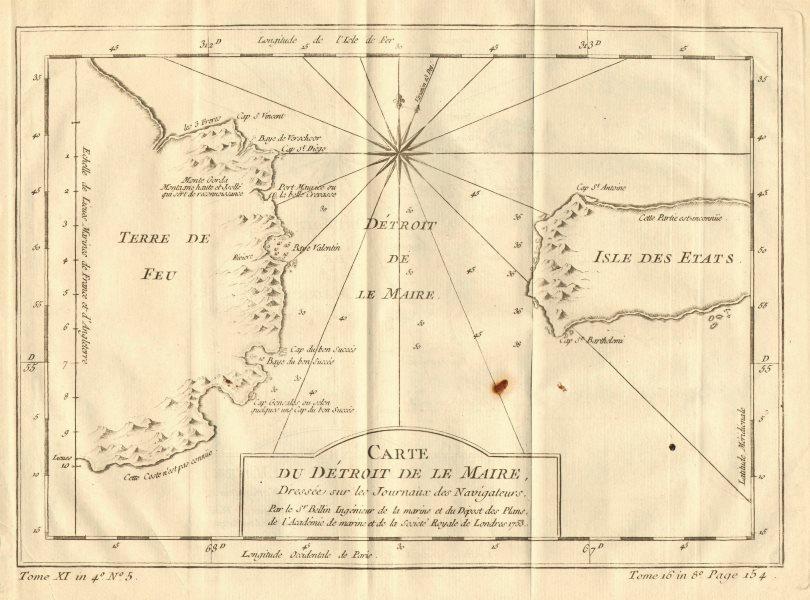 Associate Product 'Detroit de Le Maire' Strait, Tierra del Fuega, Argentina. BELLIN 1758 old map