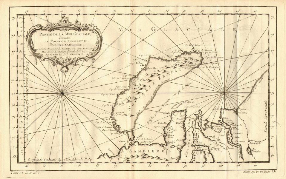 Associate Product Partie de la Mer Glaciale…Novelle Zemble' Novaya Zemlya Siberia. BELLIN 1758 map