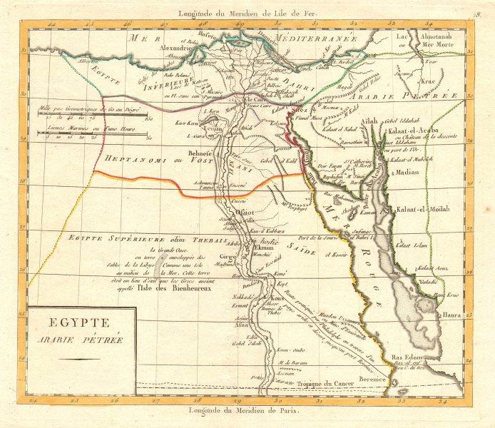 Associate Product 'Egypte Arabie Pétrée' by Lamarche. Cairo Red Sea Arabia Petraea c1795 old map