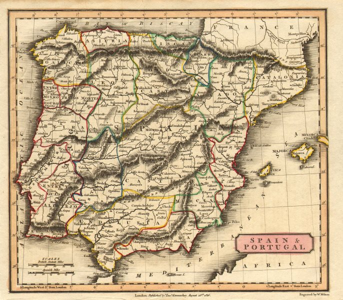 Associate Product 'Spain & Portugal' by Milton/Kinnersley. Iberia 1816 old antique map chart