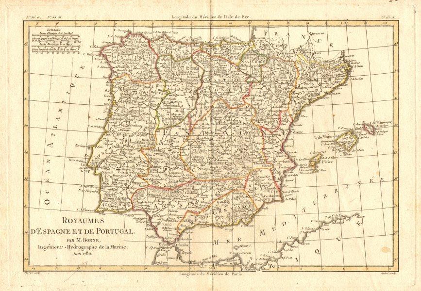 Associate Product 'Royaumes d'Espagne et de Portugal.' by Rigobert Bonne. Iberia Spain 1780 map