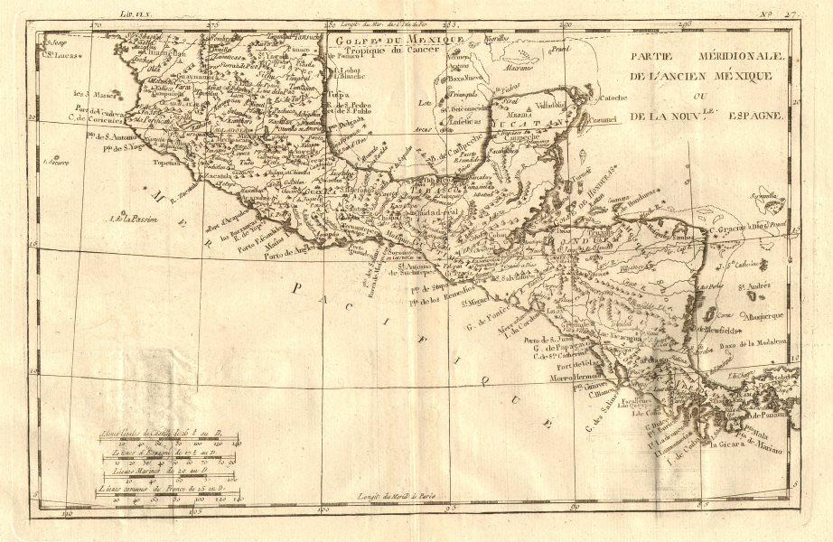 Associate Product 'Partie Meridionale de L'Ancien Mexique…'. BONNE. Southern Mexico c1783 map