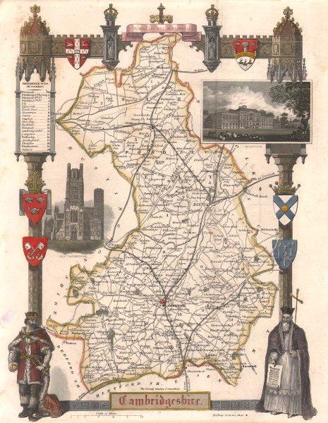 Associate Product Cambridgeshire antique hand-coloured county map. Railways. MOULE c1840 old