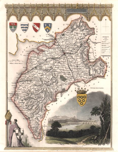 Associate Product Cumberland antique hand-coloured county map. Railways. MOULE c1840 old