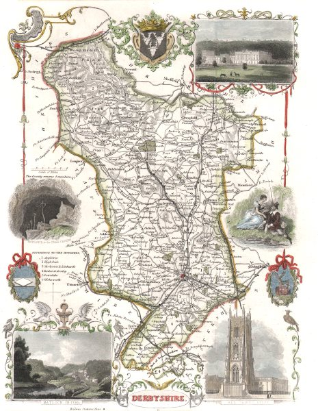 Associate Product Derbyshire antique hand-coloured county map. Railways. MOULE c1840 old