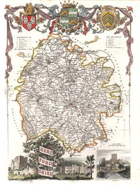 Associate Product Herefordshire antique hand-coloured county map by Thomas MOULE c1840 old