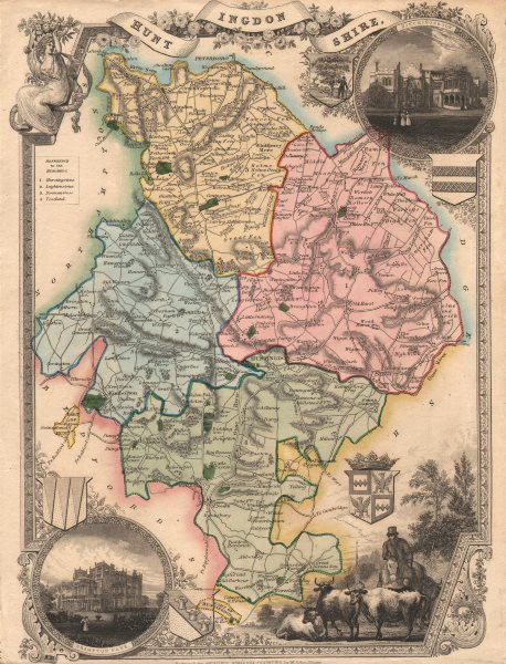 Associate Product Huntingdonshire antique hand-coloured county map. Hundreds. MOULE c1840