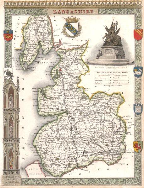 Associate Product Lancashire antique hand-coloured county map. Railways. MOULE c1840 old