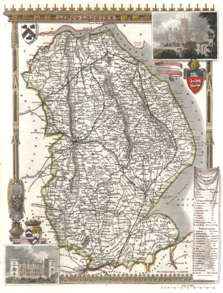 Associate Product Lincolnshire antique hand-coloured county map. Railways. MOULE c1840 old