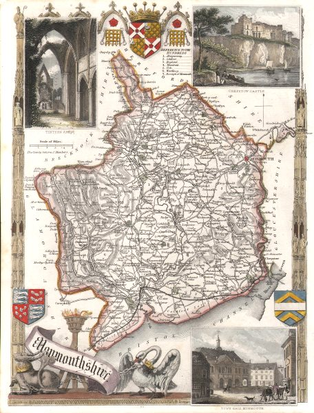 Associate Product Monmouthshire antique hand-coloured county map. Railways. MOULE c1840 old