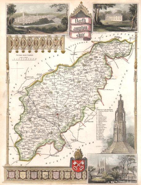 Associate Product Northamptonshire antique hand-coloured county map. Railways. MOULE c1840