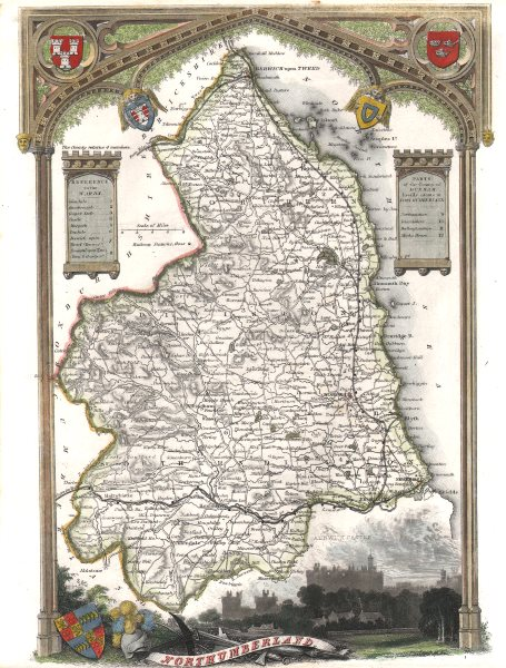 Associate Product Northumberland antique hand-coloured county map. Railways. MOULE c1840 old