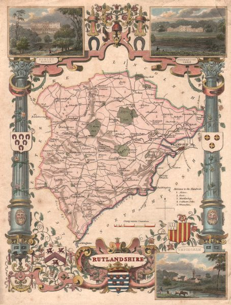 Associate Product Rutlandshire antique hand-coloured county map. Pink & turquoise. MOULE c1840