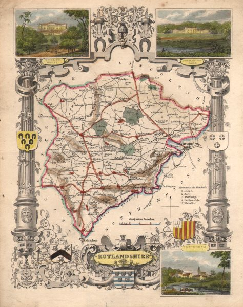 Associate Product Rutlandshire antique county map hand coloured in outline. MOULE c1840 old