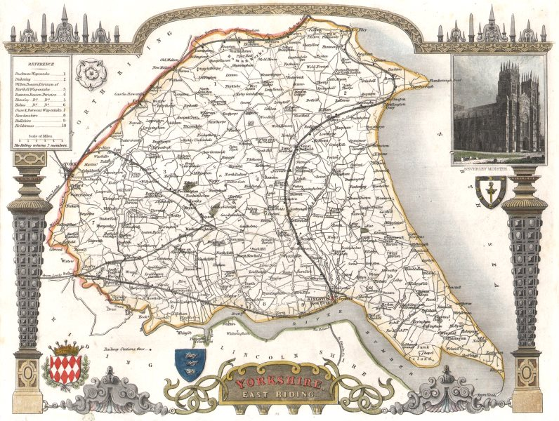 Associate Product Yorkshire East Riding antique county map. Hand coloured. Railways. MOULE c1840