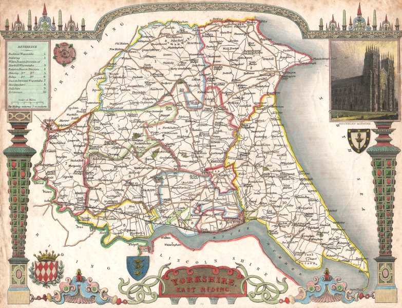Associate Product Yorkshire, East Riding antique hand-coloured county map. Wapentakes. MOULE c1840