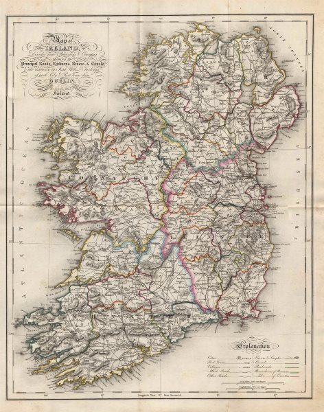"""""""Map of Ireland, divided into provinces & counties"""". LEWIS/CREIGHTON/DOWER 1846"""
