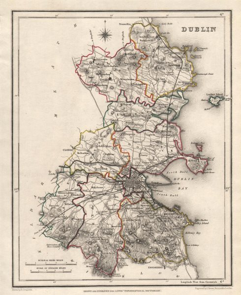 Map Of Dublin 6 Ireland.County Dublin Antique Map For Lewis By Creighton Dower Ireland