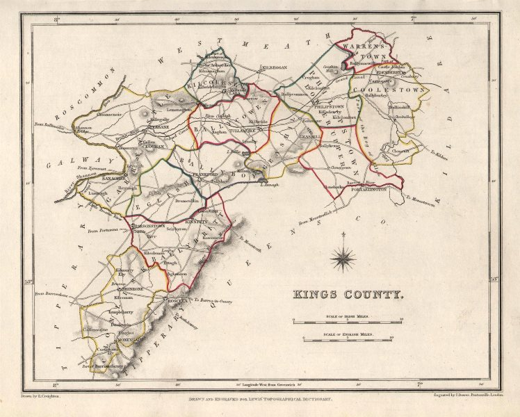 Associate Product KINGS COUNTY (OFFALY) antique map for LEWIS. CREIGHTON & DOWER. Ireland 1846
