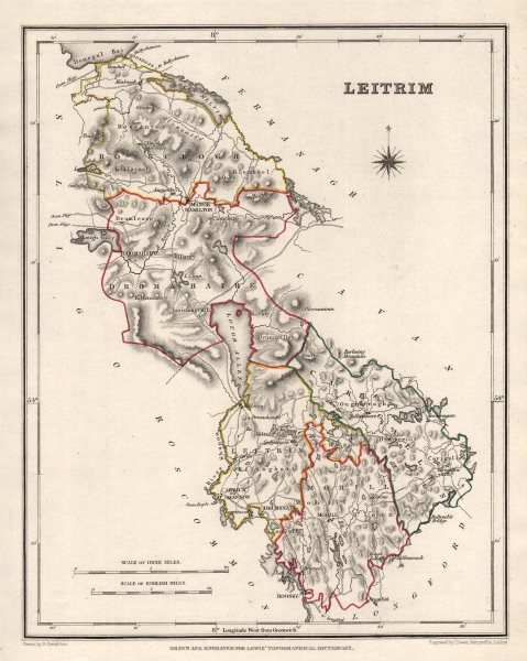 Associate Product COUNTY LEITRIM antique map for LEWIS by CREIGHTON & DOWER. Ireland 1846