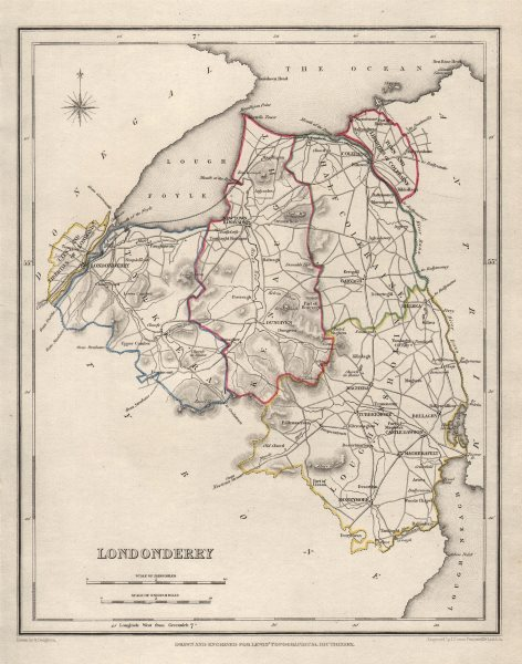 Associate Product COUNTY LONDONDERRY antique map for LEWIS by CREIGHTON & DOWER. Ulster 1846