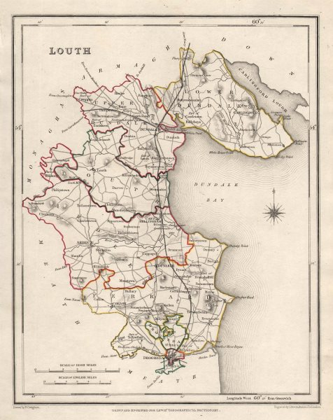 Associate Product COUNTY LOUTH antique map for LEWIS by CREIGHTON & DOWER. Ireland 1846 old