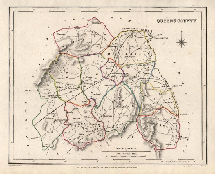 Associate Product QUEENS COUNTY (LAOIS) antique map for LEWIS. CREIGHTON & DOWER. Ireland 1846