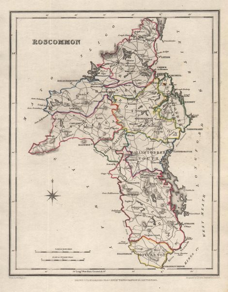 COUNTY ROSCOMMON antique map for LEWIS by CREIGHTON & DOWER. Ireland 1846