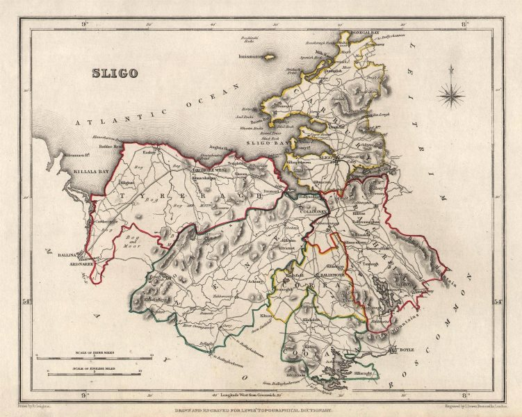 COUNTY SLIGO antique map for LEWIS by CREIGHTON & DOWER. Ireland 1846 old