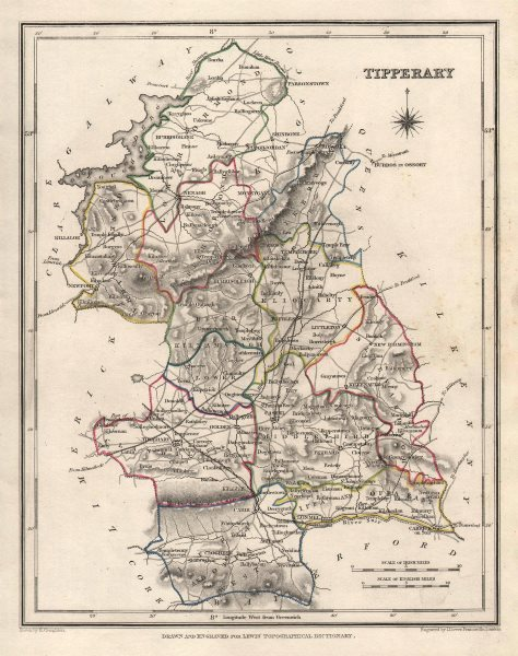 COUNTY TIPPERARY antique map for LEWIS by CREIGHTON & DOWER. Ireland 1846