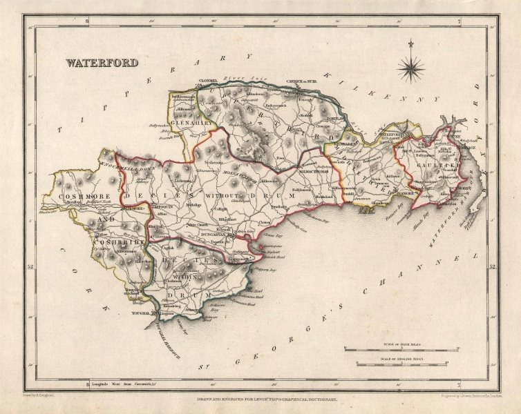 COUNTY WATERFORD antique map for LEWIS by CREIGHTON & DOWER. Ireland 1846