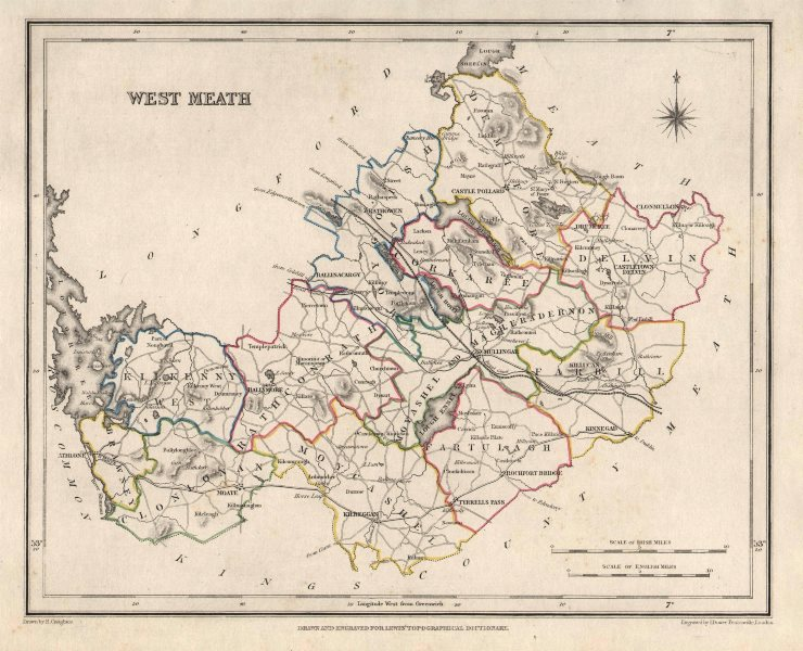 COUNTY WESTMEATH antique map for LEWIS by CREIGHTON & DOWER. Ireland 1846