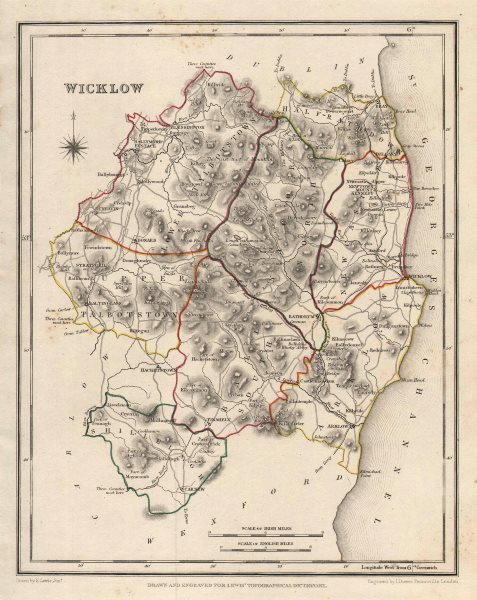 COUNTY WICKLOW antique map for LEWIS by DOWER. Ireland 1846 old