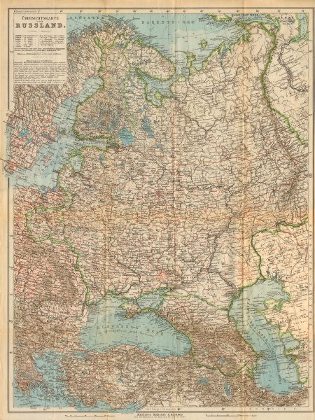 Associate Product Overview map of European Russia. Russland. BAEDEKER 1912 old antique chart