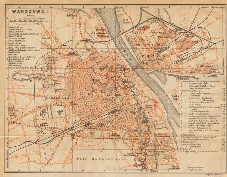 Associate Product Warsaw I town/city plan miasta mapa. Poland. Warszawa. BAEDEKER 1912 old