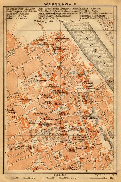 Warsaw II town/city centre plan miasta mapa. Poland. Warszawa. BAEDEKER 1912