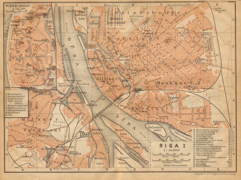 Associate Product Riga town/city plan pilsetas karte. Latvia. BAEDEKER 1912 old antique map