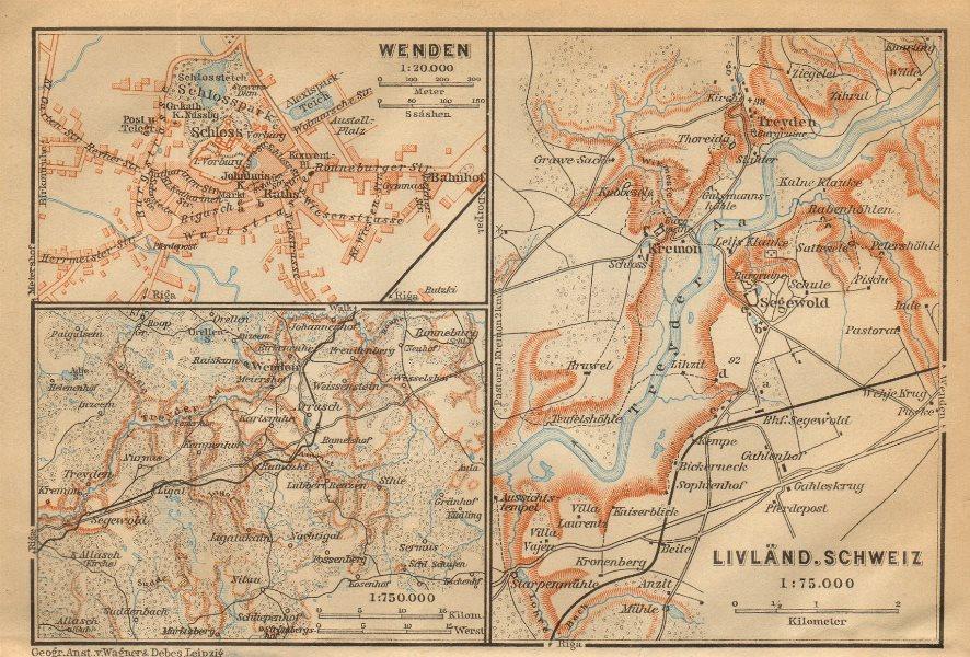 Associate Product Gauja National Park, Latvia. Cesis/Wenden. Sigulda. BAEDEKER 1912 old map
