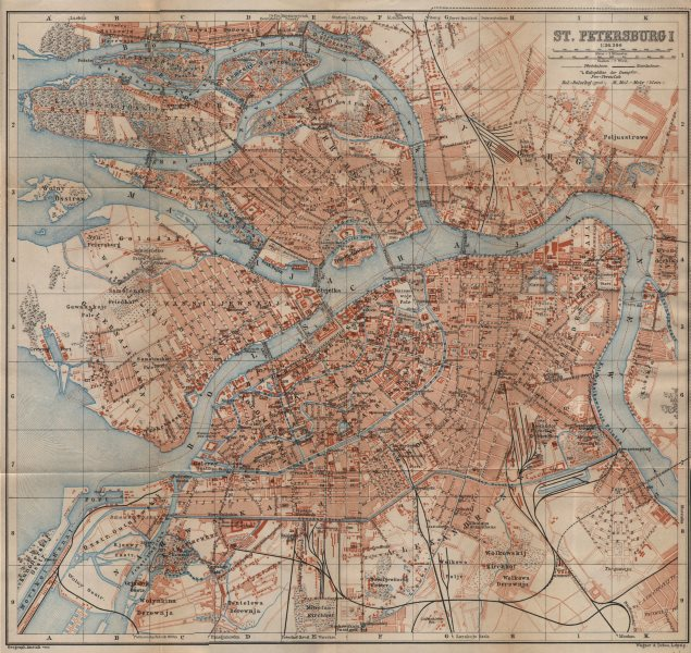 St. Petersburg I town/city plan. Russia. BAEDEKER 1912 old antique map chart