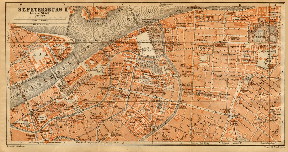 Associate Product St. Petersburg II city centre town/city plan. Russia. BAEDEKER 1912 old map